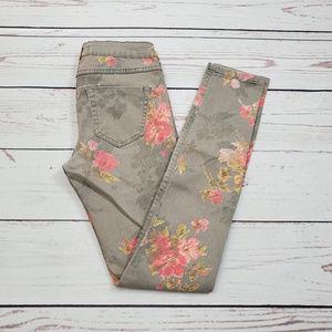 Z 1975 Zara Denim Floral Design Skinny Jean Size 2